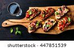 brushetta set for wine. variety ... | Shutterstock . vector #447851539