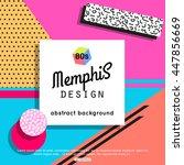trendy memphis cards design | Shutterstock .eps vector #447856669