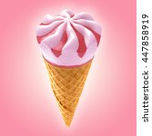 strawberry ice cream cone on... | Shutterstock . vector #447858919
