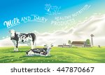 two cows in the background of... | Shutterstock .eps vector #447870667