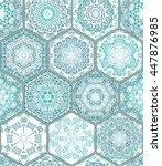 Blue Green Tiles Floor Ornamen...