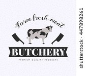 butchery logo with cow  cleaver ... | Shutterstock .eps vector #447898261