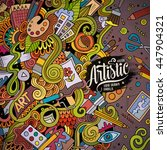 cartoon cute doodles hand drawn ... | Shutterstock .eps vector #447904321