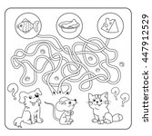 Stock vector maze or labyrinth game for preschool children puzzle tangled road matching game cartoon animals 447912529