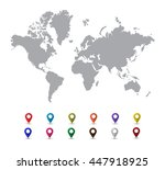 grey world map with colorful... | Shutterstock .eps vector #447918925