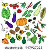 vegetables green fresh food set ... | Shutterstock .eps vector #447927025