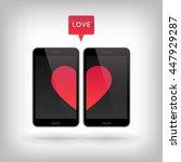 love on phone. illustration of... | Shutterstock . vector #447929287
