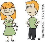typical siblings teasing each... | Shutterstock .eps vector #447947695