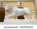 lion statue near state russian... | Shutterstock . vector #447963331