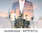 double exposure of businessman... | Shutterstock . vector #447976711