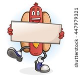 hot dog cartoon character... | Shutterstock .eps vector #447979321