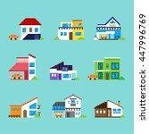 various houses set vector pixel