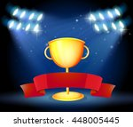 golden trophy and red ribbon... | Shutterstock .eps vector #448005445