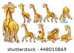 Sticker Set With Happy Giraffe...