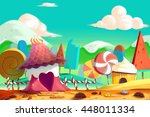 beautiful candy and cookie land ... | Shutterstock . vector #448011334