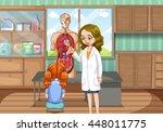doctor explaining human anatomy ...   Shutterstock .eps vector #448011775