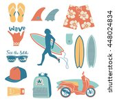 surfing objects set with... | Shutterstock .eps vector #448024834