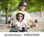 father and daughter traveling... | Shutterstock . vector #448025689