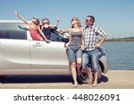 happy people standing near car. ... | Shutterstock . vector #448026091