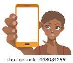 young woman holding smart phone ... | Shutterstock .eps vector #448034299