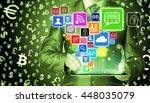 business man using tablet pc... | Shutterstock . vector #448035079