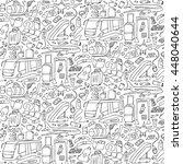 hand drawn airport seamless... | Shutterstock .eps vector #448040644