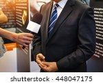 journalist with microphone... | Shutterstock . vector #448047175