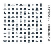 clothes 100 icons set on white... | Shutterstock .eps vector #448051594