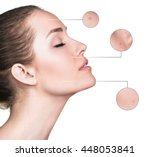 female face with zoom circles. | Shutterstock . vector #448053841