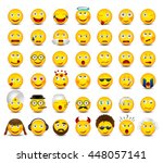emoticons set on white... | Shutterstock .eps vector #448057141