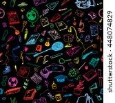 hand drawn doodle school... | Shutterstock .eps vector #448074829