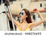 beautiful woman posing and... | Shutterstock . vector #448076695