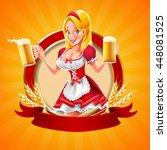 blonde with beer | Shutterstock .eps vector #448081525