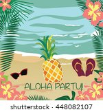 summer beach with palm leaves ... | Shutterstock .eps vector #448082107