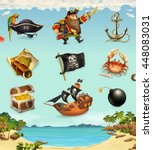 sea pirates  funny character... | Shutterstock .eps vector #448083031