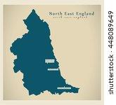 modern map   north east england ... | Shutterstock .eps vector #448089649