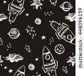 hand drawn space background | Shutterstock .eps vector #448096159