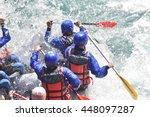 rafting team splashing the... | Shutterstock . vector #448097287