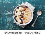 Bowl Of Oatmeal Porridge With...