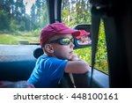 Cute Little Boy Traveling In...