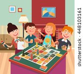 family playing board game.... | Shutterstock .eps vector #448103161