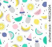 vector seamless cute summer... | Shutterstock .eps vector #448126204