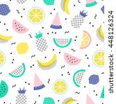 vector seamless cute summer... | Shutterstock .eps vector #448126324