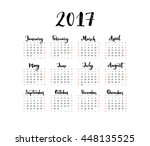 one page calendar 2017 with... | Shutterstock .eps vector #448135525