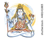 indian god shiva with abstract... | Shutterstock .eps vector #448141885