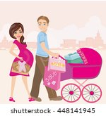 beautiful pregnant woman and... | Shutterstock .eps vector #448141945