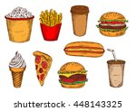 takeaway packages of french... | Shutterstock .eps vector #448143325