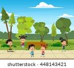 school children meet and go to... | Shutterstock .eps vector #448143421