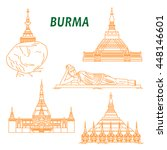 popular buddhist pilgrimage and ...   Shutterstock .eps vector #448146601