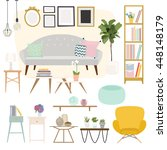 living room. furniture and home ... | Shutterstock .eps vector #448148179